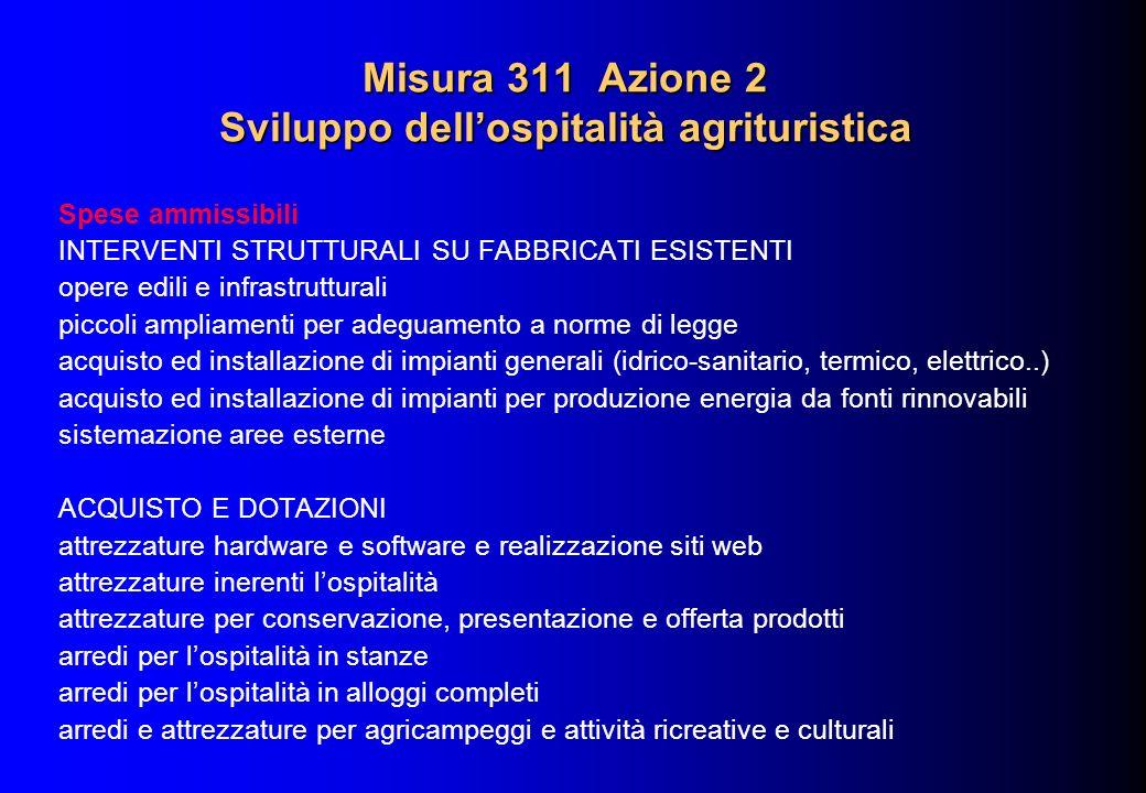 Misura 311 Azione 2 Sviluppo dellospitalità agrituristica Spese ammissibili INTERVENTI STRUTTURALI SU FABBRICATI ESISTENTI opere edili e infrastruttur