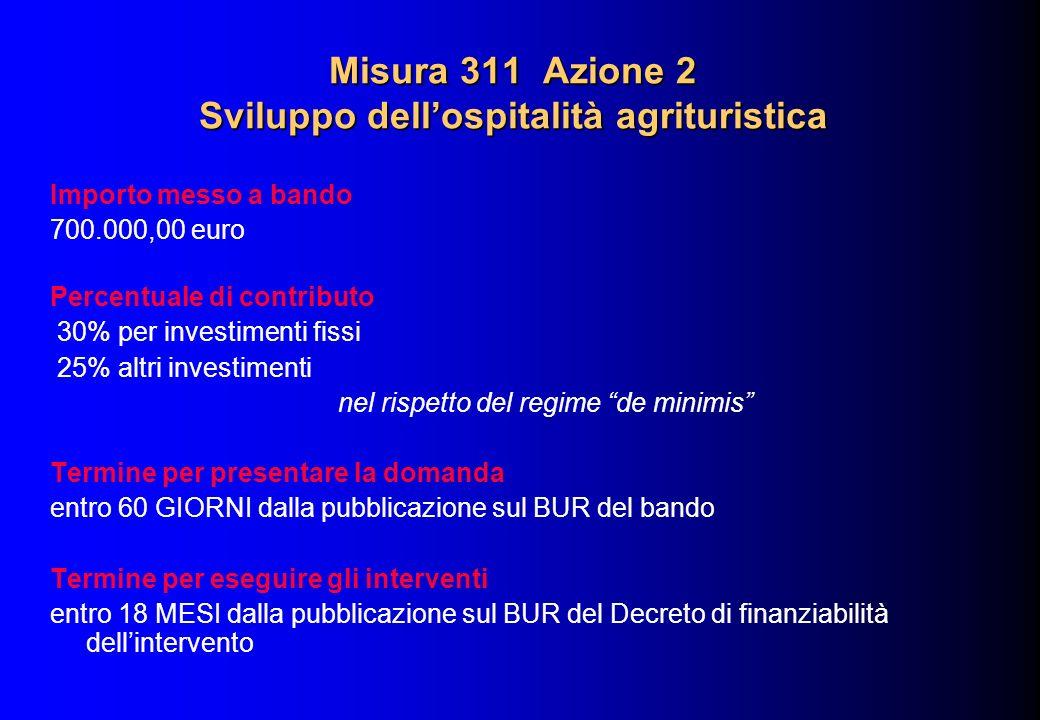 Misura 311 Azione 2 Sviluppo dellospitalità agrituristica Importo messo a bando 700.000,00 euro Percentuale di contributo 30% per investimenti fissi 2