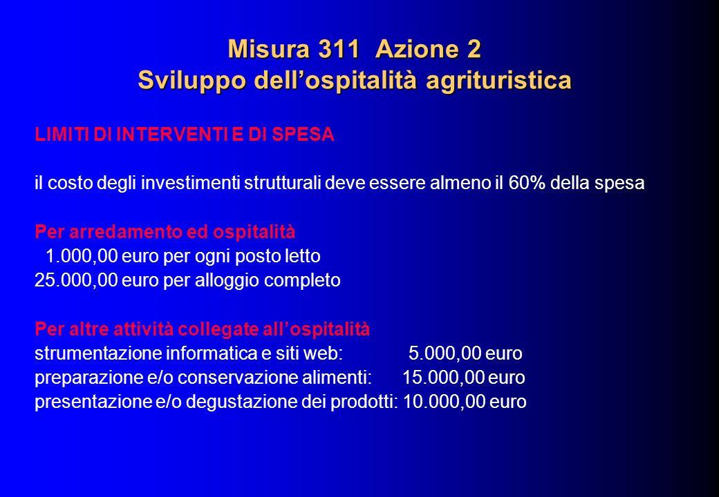 Misura 311 Azione 2 Sviluppo dellospitalità agrituristica LIMITI DI INTERVENTI E DI SPESA il costo degli investimenti strutturali deve essere almeno i