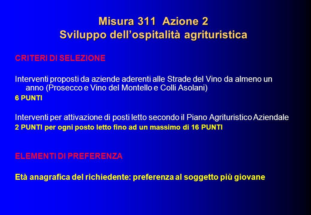 Misura 311 Azione 2 Sviluppo dellospitalità agrituristica CRITERI DI SELEZIONE Interventi proposti da aziende aderenti alle Strade del Vino da almeno
