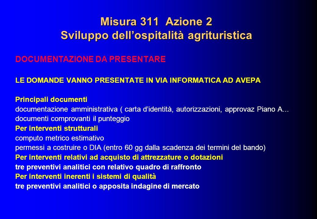 Misura 311 Azione 2 Sviluppo dellospitalità agrituristica DOCUMENTAZIONE DA PRESENTARE LE DOMANDE VANNO PRESENTATE IN VIA INFORMATICA AD AVEPA Princip