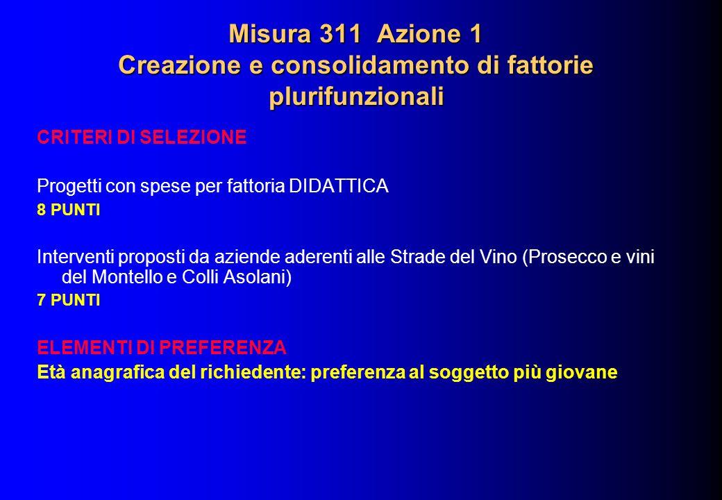 Misura 311 Azione 1 Creazione e consolidamento di fattorie plurifunzionali CRITERI DI SELEZIONE Progetti con spese per fattoria DIDATTICA 8 PUNTI Inte