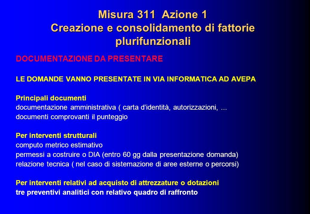 Misura 311 Azione 1 Creazione e consolidamento di fattorie plurifunzionali DOCUMENTAZIONE DA PRESENTARE LE DOMANDE VANNO PRESENTATE IN VIA INFORMATICA