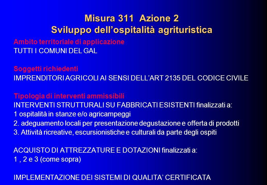 Misura 311 Azione 2 Sviluppo dellospitalità agrituristica Ambito territoriale di applicazione TUTTI I COMUNI DEL GAL Soggetti richiedenti IMPRENDITORI
