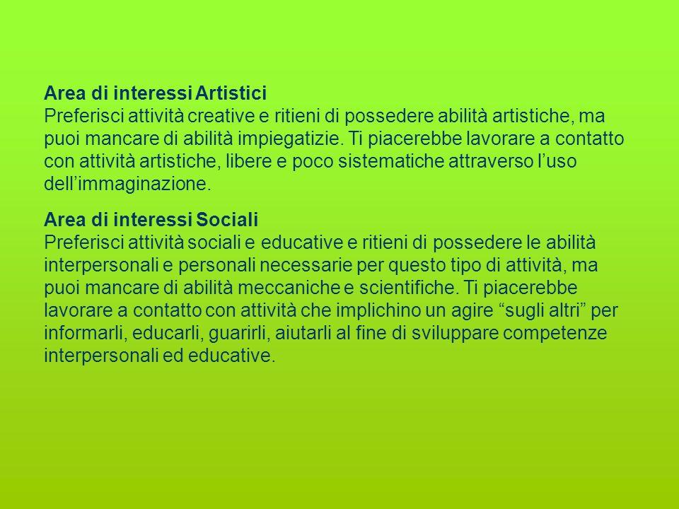Area di interessi Artistici Preferisci attività creative e ritieni di possedere abilità artistiche, ma puoi mancare di abilità impiegatizie. Ti piacer