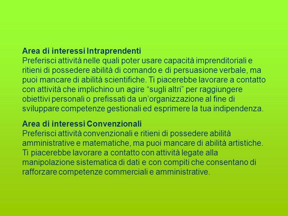 Area di interessi Intraprendenti Preferisci attività nelle quali poter usare capacità imprenditoriali e ritieni di possedere abilità di comando e di p