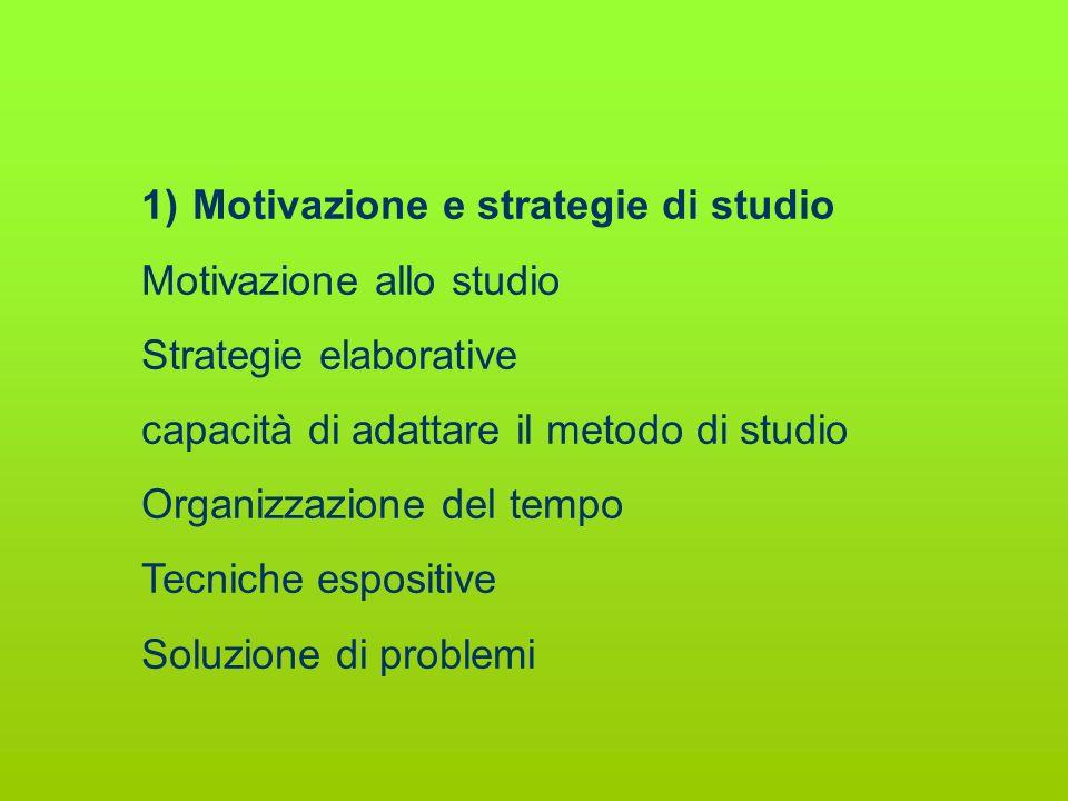 1) Motivazione e strategie di studio Motivazione allo studio Strategie elaborative capacità di adattare il metodo di studio Organizzazione del tempo T