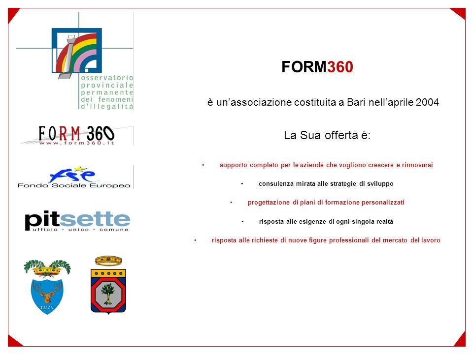FORM360 è unassociazione costituita a Bari nellaprile 2004 La Sua offerta è: supporto completo per le aziende che vogliono crescere e rinnovarsi consulenza mirata alle strategie di sviluppo progettazione di piani di formazione personalizzati risposta alle esigenze di ogni singola realtà risposta alle richieste di nuove figure professionali del mercato del lavoro