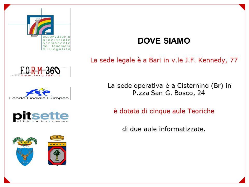 DOVE SIAMO La sede legale è a Bari in v.le J.F.