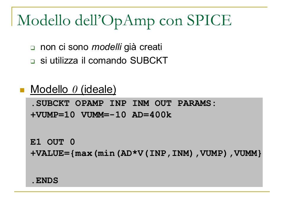 Modello dellOpAmp con SPICE non ci sono modelli già creati si utilizza il comando SUBCKT Modello 0 (ideale).SUBCKT OPAMP INP INM OUT PARAMS: +VUMP=10