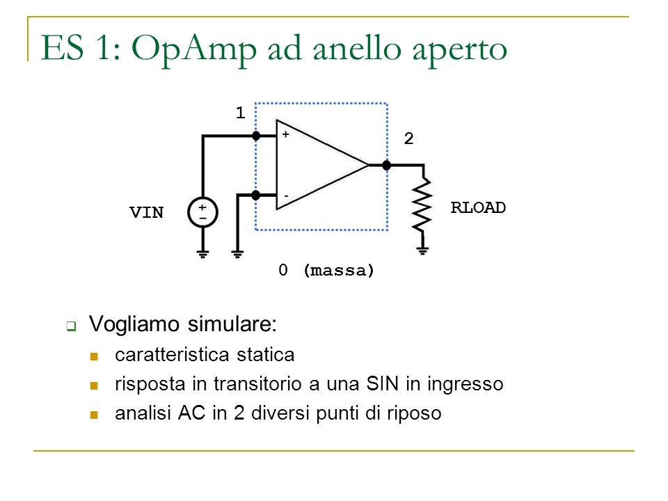 ES 1: OpAmp ad anello aperto Vogliamo simulare: caratteristica statica risposta in transitorio a una SIN in ingresso analisi AC in 2 diversi punti di