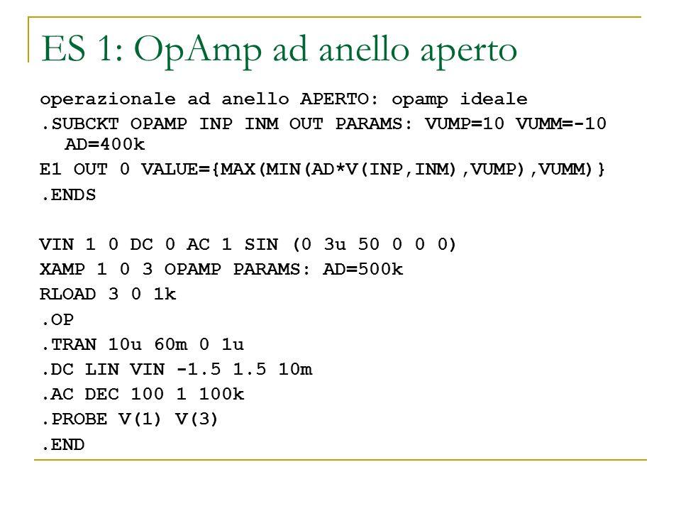ES 1: OpAmp ad anello aperto operazionale ad anello APERTO: opamp ideale.SUBCKT OPAMP INP INM OUT PARAMS: VUMP=10 VUMM=-10 AD=400k E1 OUT 0 VALUE={MAX
