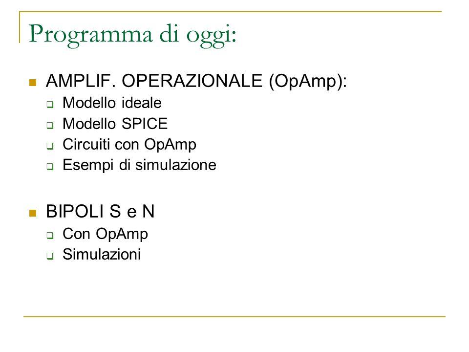 Programma di oggi: AMPLIF. OPERAZIONALE (OpAmp): Modello ideale Modello SPICE Circuiti con OpAmp Esempi di simulazione BIPOLI S e N Con OpAmp Simulazi
