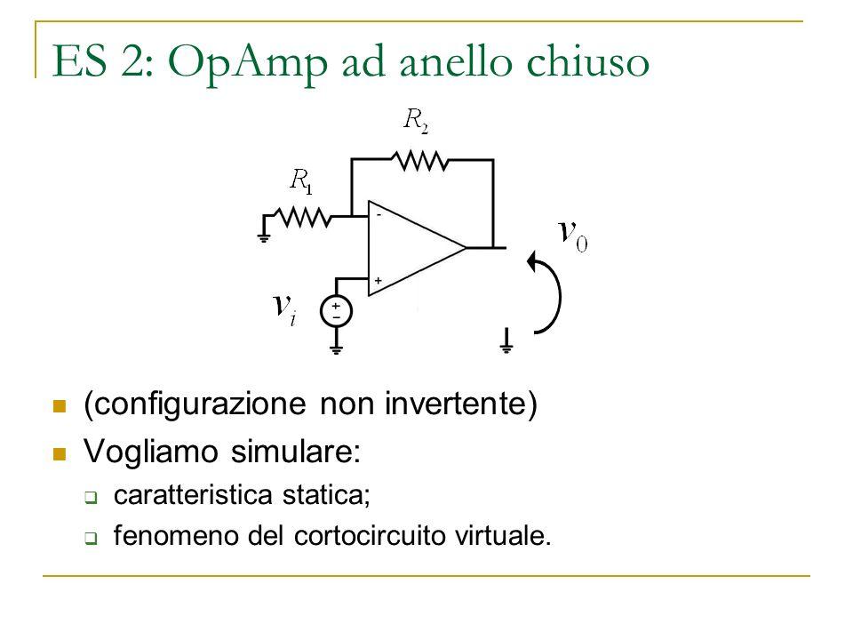 ES 2: OpAmp ad anello chiuso (configurazione non invertente) Vogliamo simulare: caratteristica statica; fenomeno del cortocircuito virtuale.