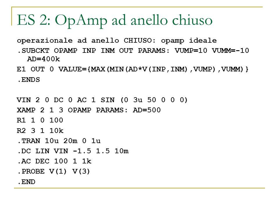 ES 2: OpAmp ad anello chiuso operazionale ad anello CHIUSO: opamp ideale.SUBCKT OPAMP INP INM OUT PARAMS: VUMP=10 VUMM=-10 AD=400k E1 OUT 0 VALUE={MAX