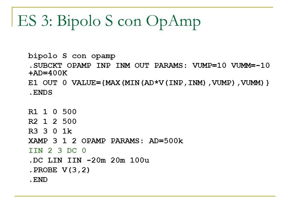 ES 3: Bipolo S con OpAmp bipolo S con opamp.SUBCKT OPAMP INP INM OUT PARAMS: VUMP=10 VUMM=-10 +AD=400K E1 OUT 0 VALUE={MAX(MIN(AD*V(INP,INM),VUMP),VUM