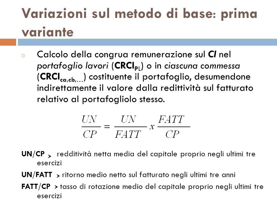 Variazioni sul metodo di base: prima variante o Calcolo della congrua remunerazione sul CI nel portafoglio lavori (CRCI PL ) o in ciascuna commessa (C