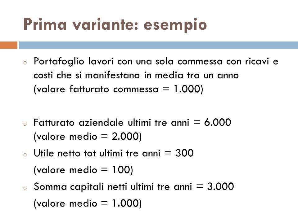 Prima variante: esempio o Portafoglio lavori con una sola commessa con ricavi e costi che si manifestano in media tra un anno (valore fatturato commes