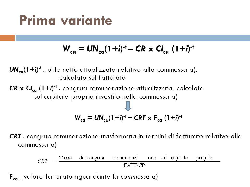 Prima variante W ca = UN ca (1+i) -t – CR x CI ca (1+i) -t UN ca (1+i) -t. utile netto attualizzato relativo alla commessa a), calcolato sul fatturato