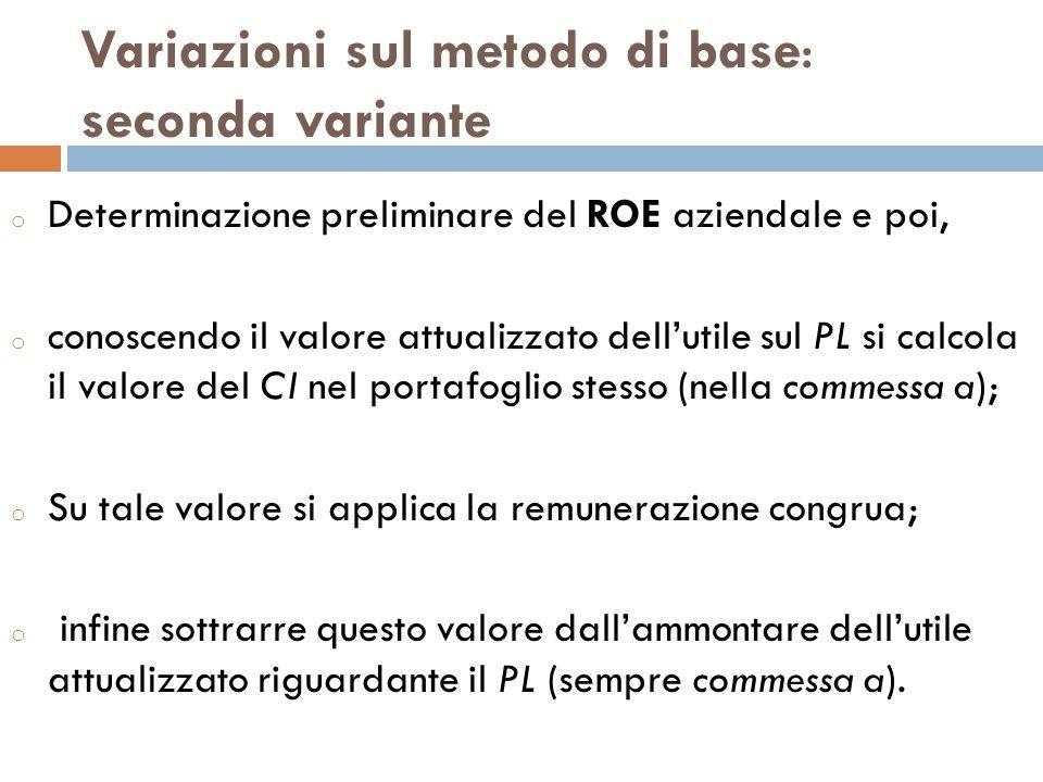 Variazioni sul metodo di base: seconda variante o Determinazione preliminare del ROE aziendale e poi, o conoscendo il valore attualizzato dellutile su