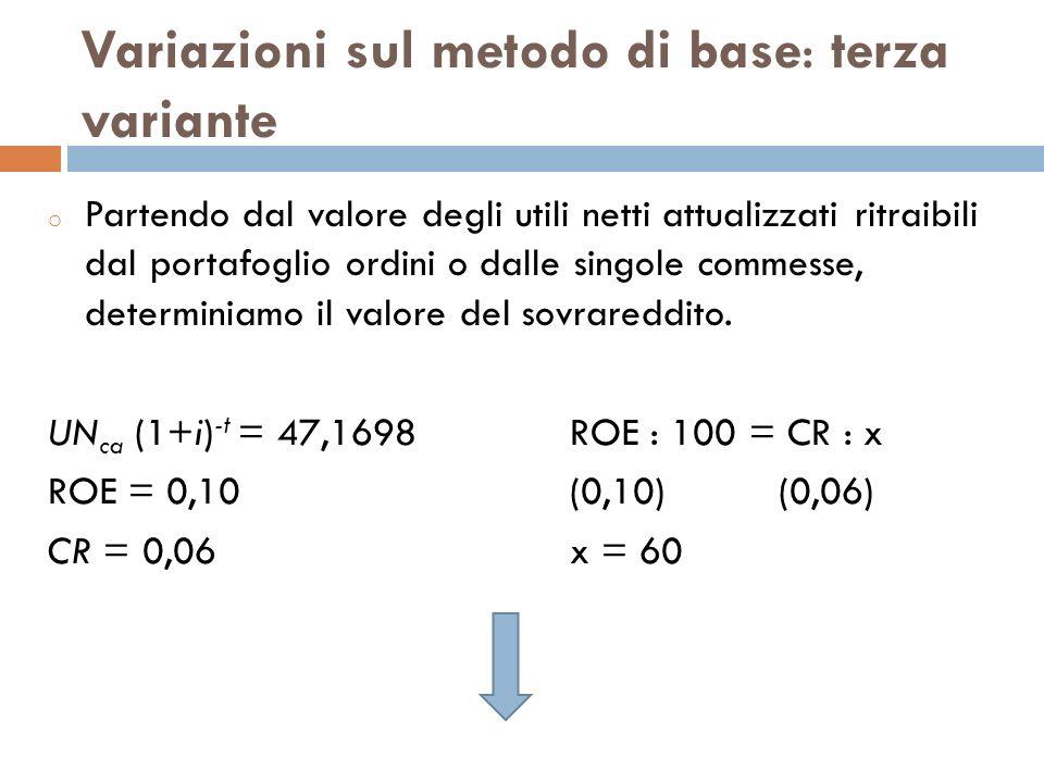Variazioni sul metodo di base: terza variante o Partendo dal valore degli utili netti attualizzati ritraibili dal portafoglio ordini o dalle singole c