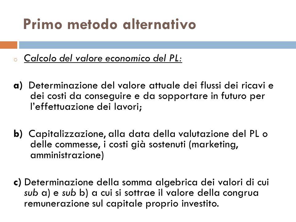 Primo metodo alternativo o Calcolo del valore economico del PL: a) Determinazione del valore attuale dei flussi dei ricavi e dei costi da conseguire e