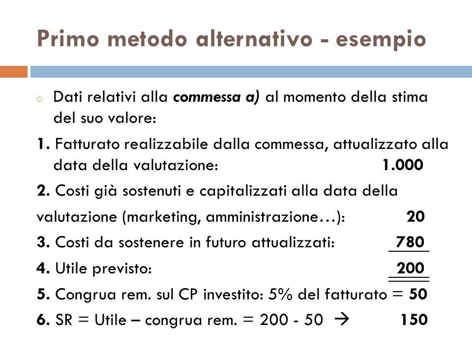 Primo metodo alternativo - esempio o Dati relativi alla commessa a) al momento della stima del suo valore: 1. Fatturato realizzabile dalla commessa, a