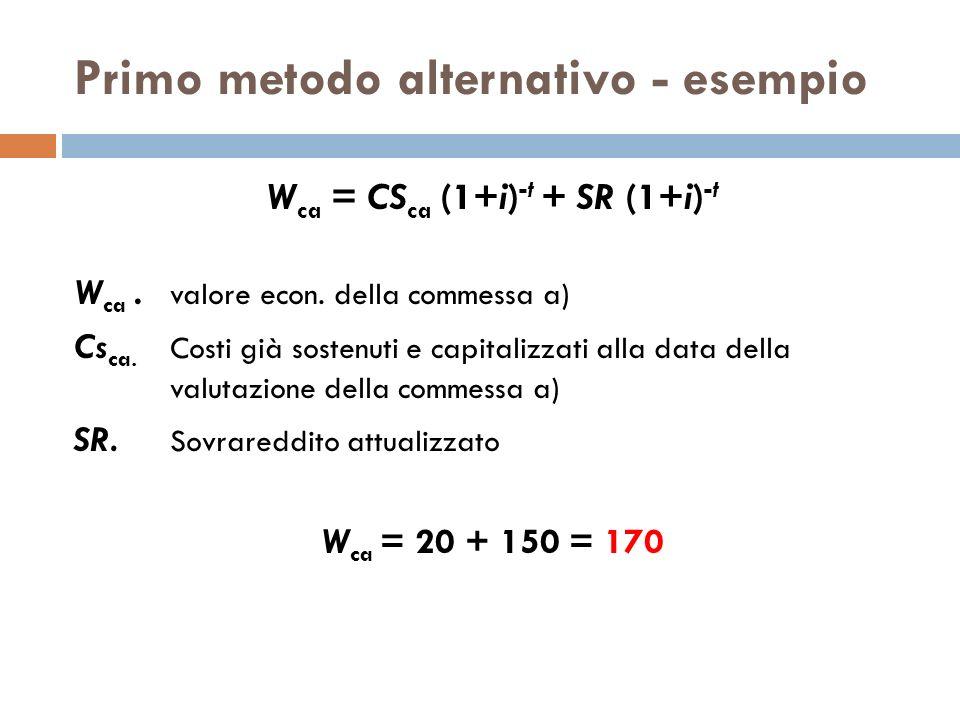 Primo metodo alternativo - esempio W ca = CS ca (1+i) -t + SR (1+i) -t W ca. valore econ. della commessa a) Cs ca. Costi già sostenuti e capitalizzati