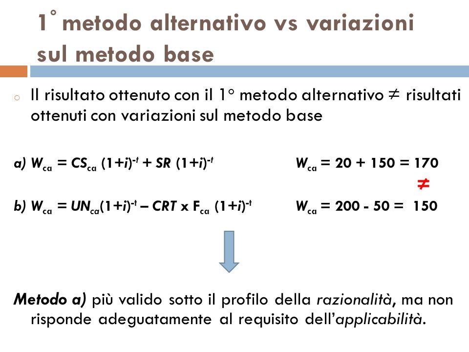 1 ° metodo alternativo vs variazioni sul metodo base o Il risultato ottenuto con il 1 o metodo alternativo risultati ottenuti con variazioni sul metod