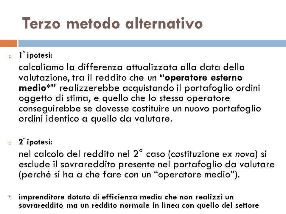 Terzo metodo alternativo o 1 ° ipotesi: calcoliamo la differenza attualizzata alla data della valutazione, tra il reddito che un operatore esterno med