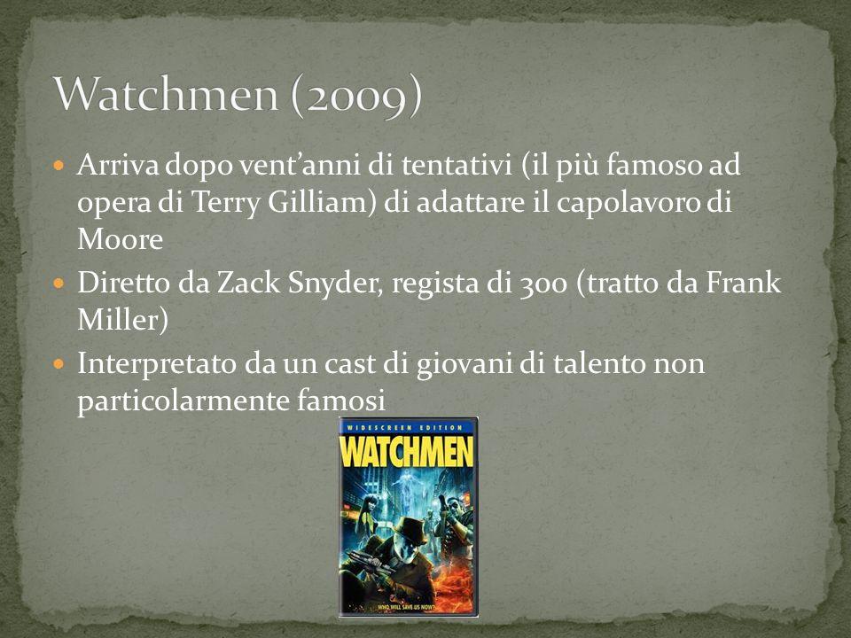 Arriva dopo ventanni di tentativi (il più famoso ad opera di Terry Gilliam) di adattare il capolavoro di Moore Diretto da Zack Snyder, regista di 300