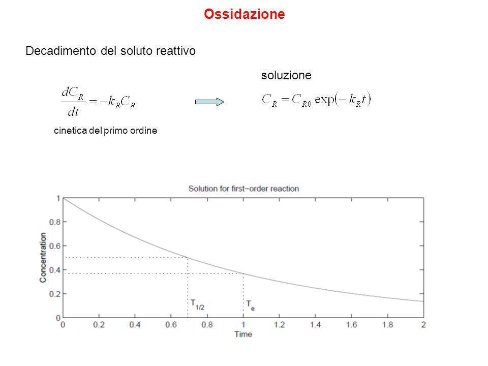 Ossidazione Decadimento del soluto reattivo soluzione cinetica del primo ordine