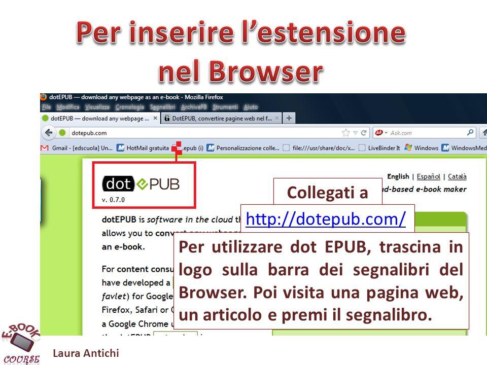 Laura Antichi Convert any webpage into an e-book http://dotepub.com/ Video correlati https://chrome.google.com/webstore/detail/okpfiebkkmjcnodegbbbiellepfhoglm http://www.youtube.com/watch?feature=player_embedded&v=ZKP4J36iALw#.