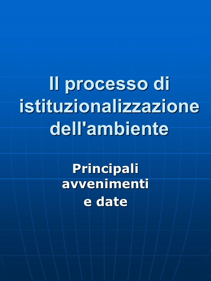 Il processo di istituzionalizzazione dell'ambiente Principali avvenimenti e date