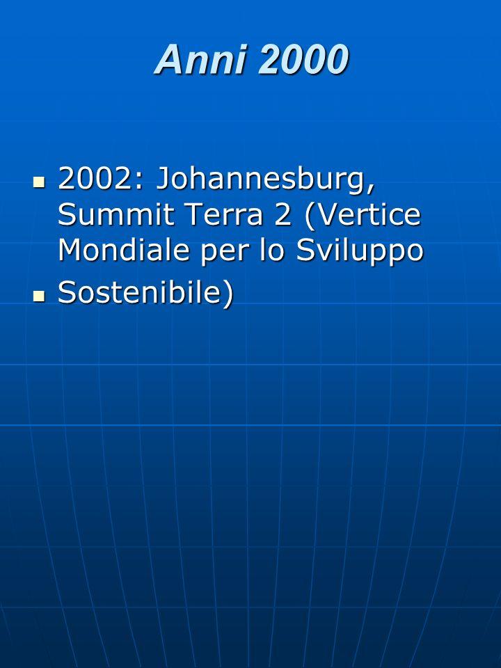 Anni 2000 2002: Johannesburg, Summit Terra 2 (Vertice Mondiale per lo Sviluppo 2002: Johannesburg, Summit Terra 2 (Vertice Mondiale per lo Sviluppo So