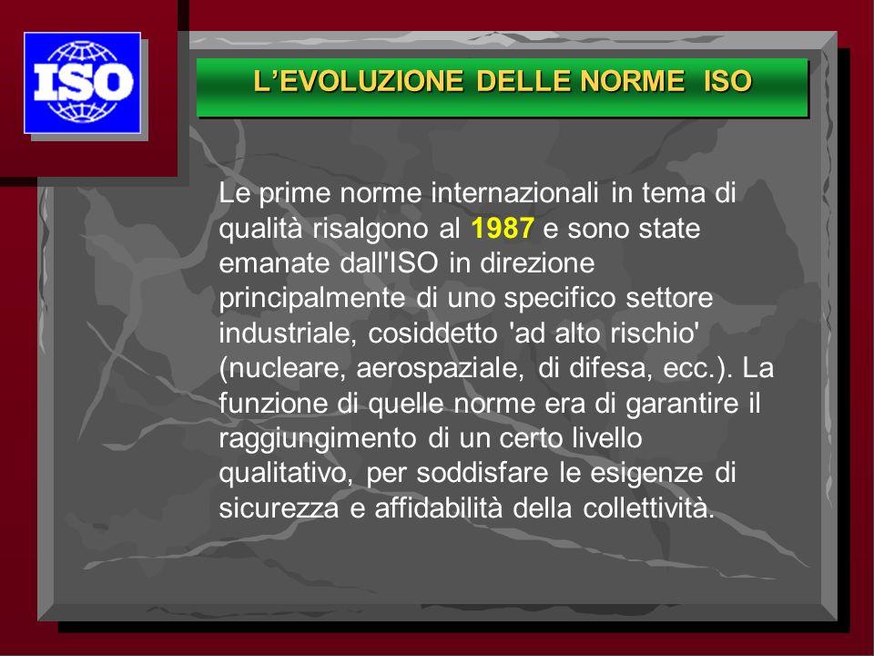 Le prime norme internazionali in tema di qualità risalgono al 1987 e sono state emanate dall'ISO in direzione principalmente di uno specifico settore