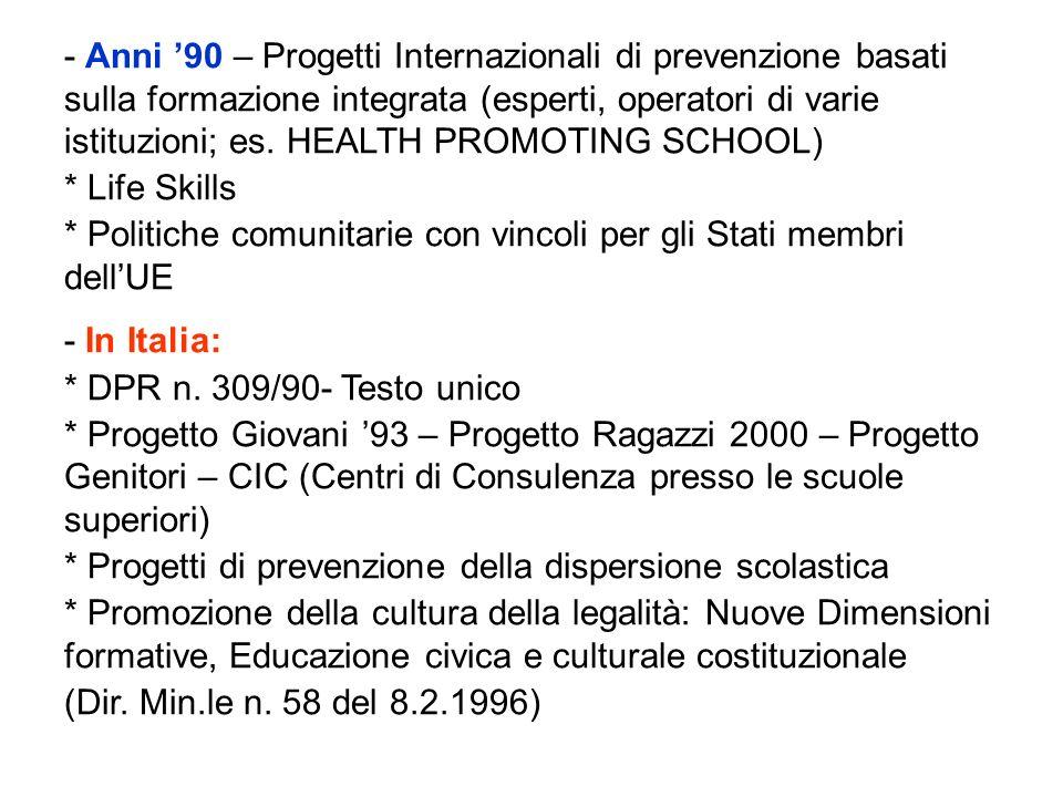- Anni 90 – Progetti Internazionali di prevenzione basati sulla formazione integrata (esperti, operatori di varie istituzioni; es. HEALTH PROMOTING SC