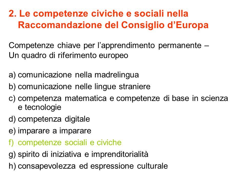 2. Le competenze civiche e sociali nella Raccomandazione del Consiglio dEuropa Competenze chiave per lapprendimento permanente – Un quadro di riferime