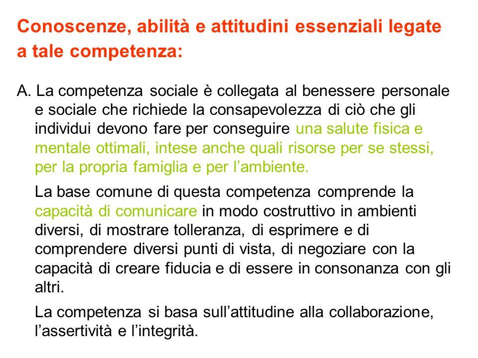 Conoscenze, abilità e attitudini essenziali legate a tale competenza: A. La competenza sociale è collegata al benessere personale e sociale che richie