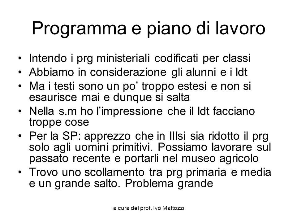 a cura del prof. Ivo Mattozzi Programma e piano di lavoro Intendo i prg ministeriali codificati per classi Abbiamo in considerazione gli alunni e i ld