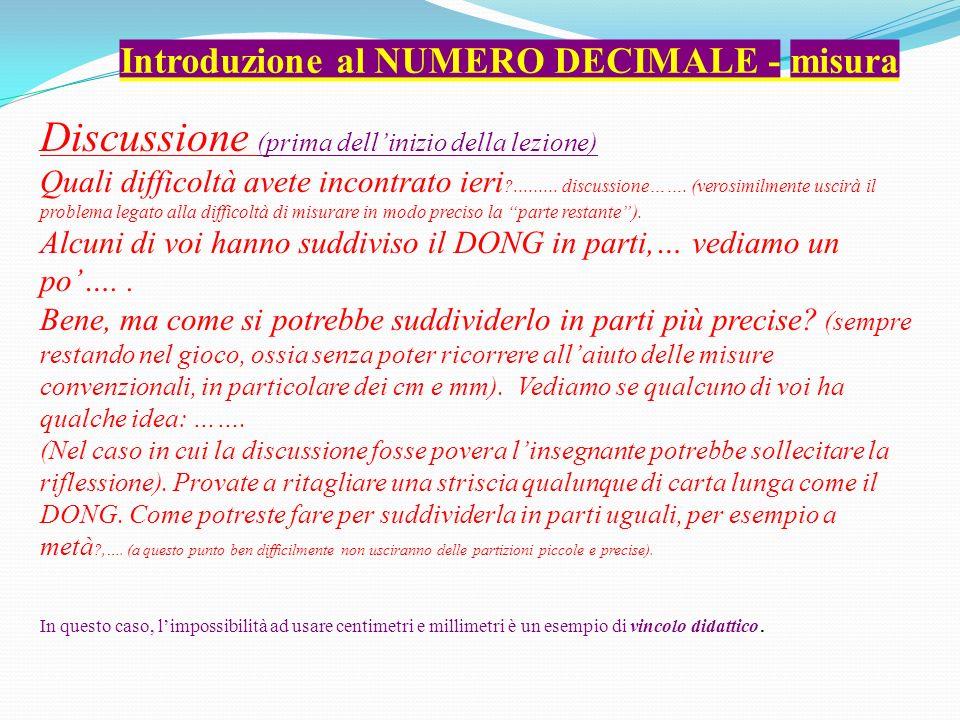 Introduzione al NUMERO DECIMALE - misura Discussione (prima dellinizio della lezione) Quali difficoltà avete incontrato ieri ?.........