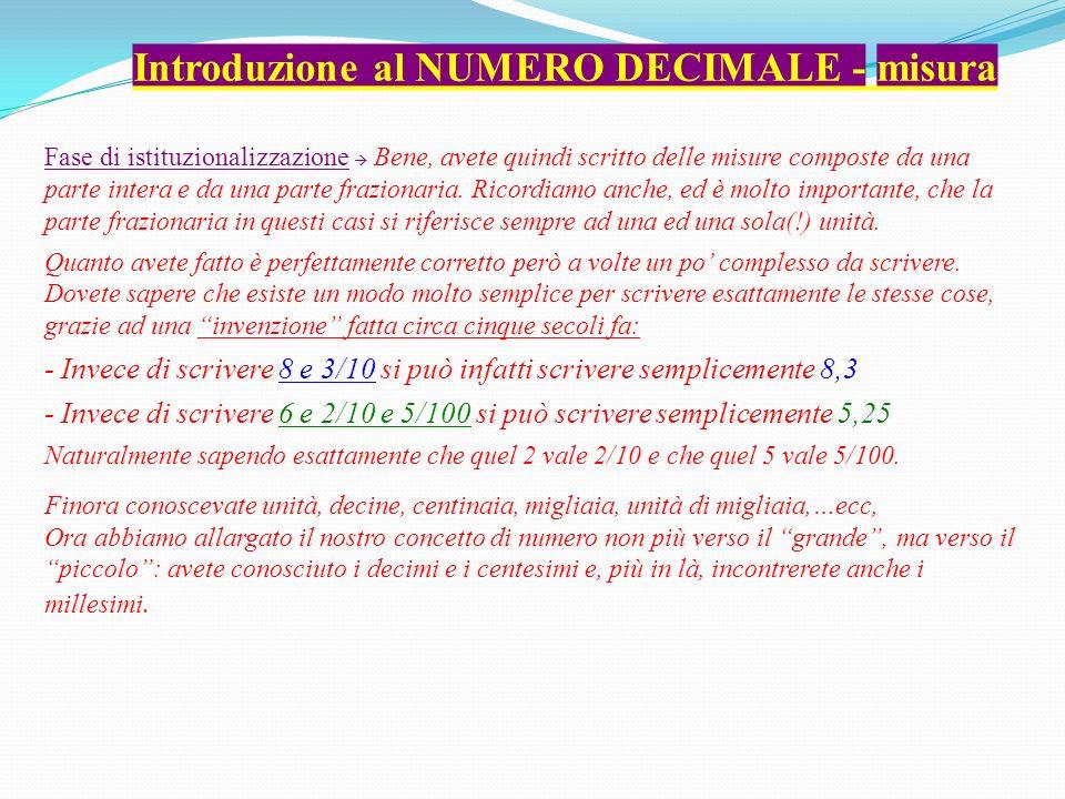 Introduzione al NUMERO DECIMALE - misura Fase di istituzionalizzazione Bene, avete quindi scritto delle misure composte da una parte intera e da una parte frazionaria.