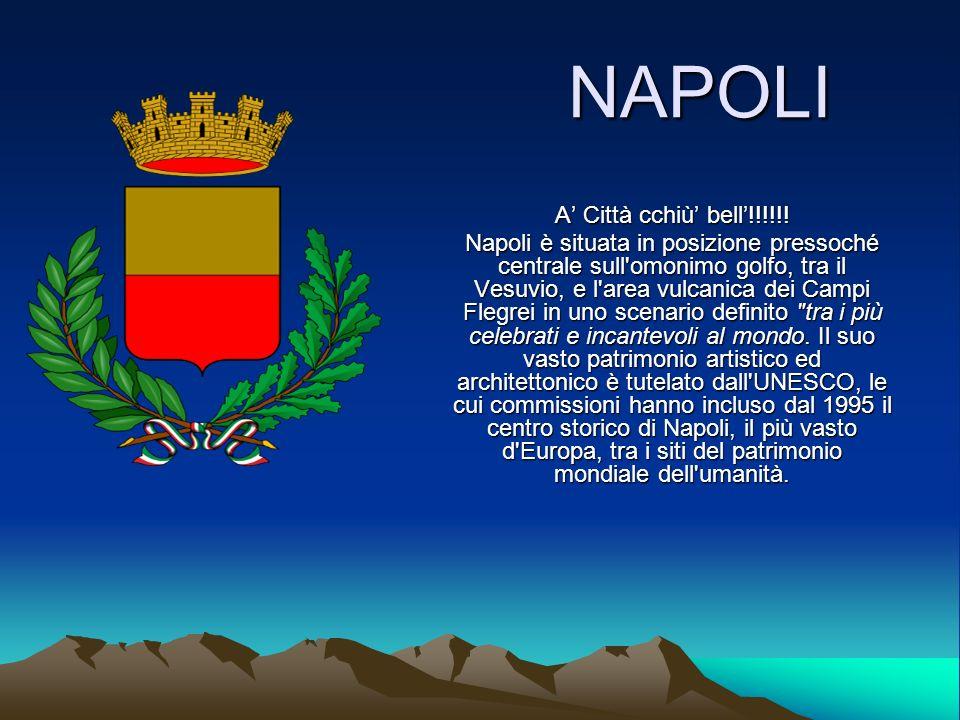 NAPOLI A Città cchiù bell!!!!!! Napoli è situata in posizione pressoché centrale sull'omonimo golfo, tra il Vesuvio, e l'area vulcanica dei Campi Fleg