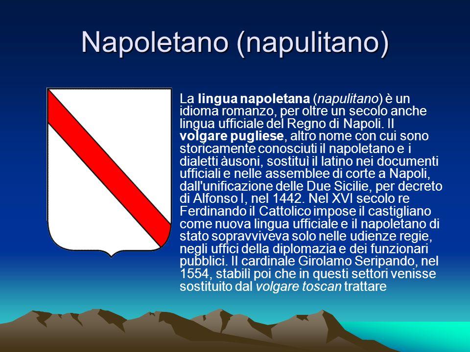Napoletano (napulitano) La lingua napoletana (napulitano) è un idioma romanzo, per oltre un secolo anche lingua ufficiale del Regno di Napoli. Il volg