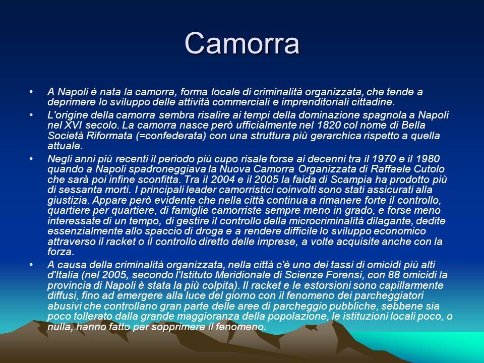 Camorra A Napoli è nata la camorra, forma locale di criminalità organizzata, che tende a deprimere lo sviluppo delle attività commerciali e imprendito