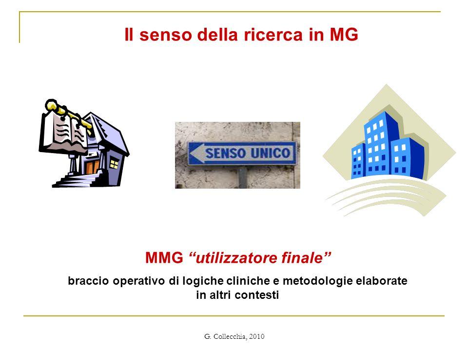 G. Collecchia, 2010 MMG utilizzatore finale braccio operativo di logiche cliniche e metodologie elaborate in altri contesti Il senso della ricerca in