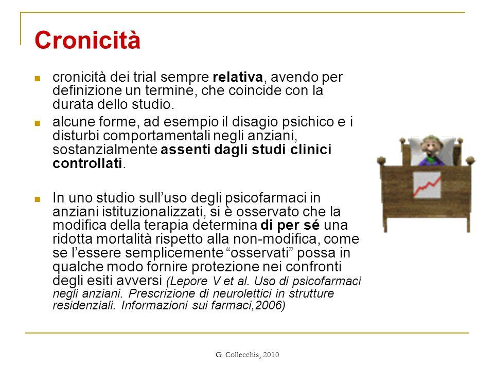 G. Collecchia, 2010 Cronicità cronicità dei trial sempre relativa, avendo per definizione un termine, che coincide con la durata dello studio. alcune