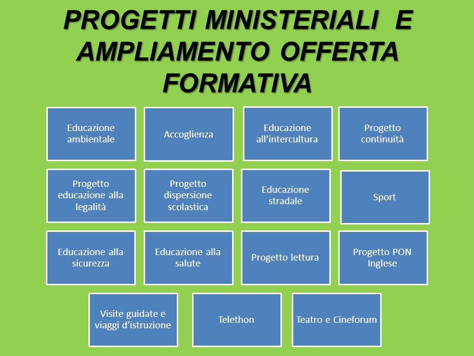 PROGETTI MINISTERIALI E AMPLIAMENTO OFFERTA FORMATIVA Educazione ambientale Educazione allintercultura Progetto continuità Educazione alla sicurezza P