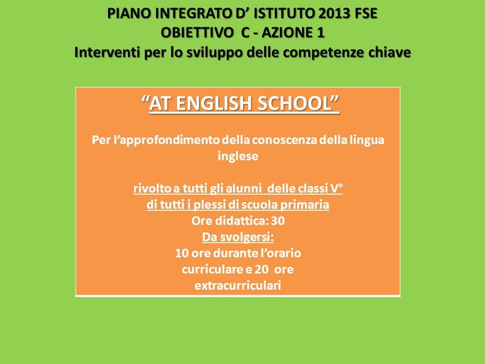PIANO INTEGRATO D ISTITUTO 2013 FSE OBIETTIVO C - AZIONE 1 Interventi per lo sviluppo delle competenze chiave AT ENGLISH SCHOOLAT ENGLISH SCHOOL Per l