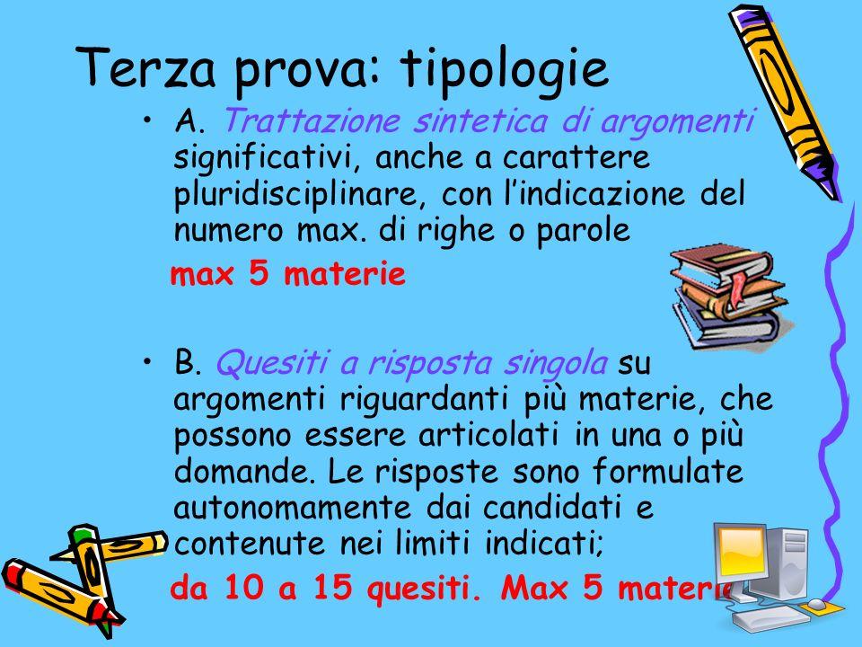 Terza prova: tipologie A.